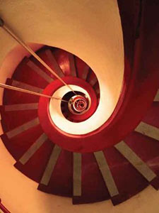 Snail-like spiral staircase in the Caracol Tower (which is Spanish for snail)