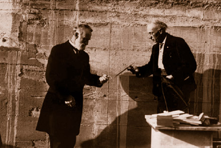 Ground Breaking Ceremony, Dr. Norman Bridge hands spade to Charles Lummis