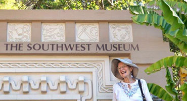 Ann Walnum arrives at the Mayan Tunnel for the Southwest Museum's 100th Anniversary Celebration